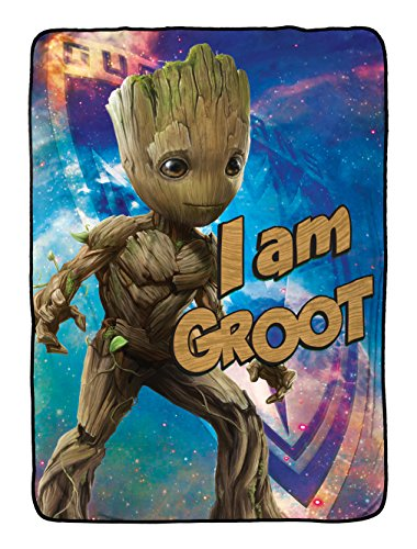 """Price comparison product image Marvel Guardians of The Galaxy 2 I Am Groot Plush Twin Blanket, 62"""" x 90"""""""