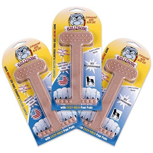 Ferret Peanut Butter (Nylon Dog Chew Toy- Bullibone Peanut Butter XL Nylon Bone - 3 Pack- Improves Dental Hygiene, Easy to Grip Bottom, and Permeated With Flavor)