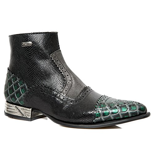 New Rock Black Leather Boots Black,Green