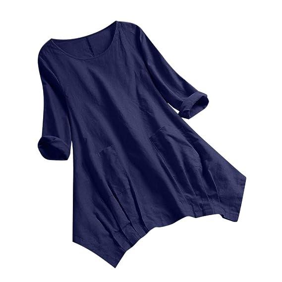 Blusas para Mujeres, Mujeres Clásico Colores Sólidos Casual Suelto ...