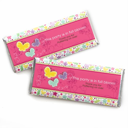 - Playful Butterfly and Flowers - Candy Bar Wrappers Baby Shower or Birthday Party Favors - Set of 24