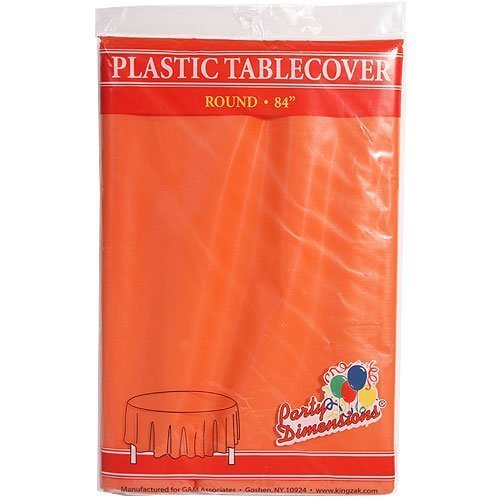 Plastic Round TableCovers 84'' - 22 Colors Select Color: Orange