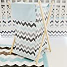 My Baby Sam Chevron Hamper, Aqua/Gray