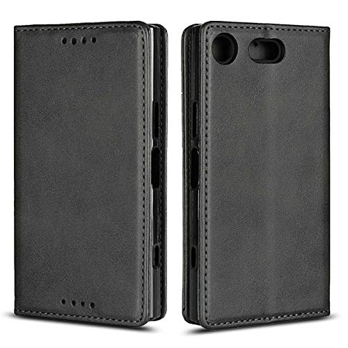 Price comparison product image Sony Xperia XZ1 Compact Retro PU Leather Folio Flip Protective Cover Case with Card Slot and Stand,  Magnetic Closure Case for Sony Xperia XZ1 Compact ( 1 Black)