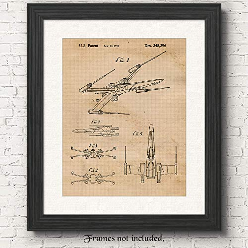 Original Star Wars X-Wing Starfighter Patent Art Poster Print - Set of 1 (One 11x14) Unframed - Great Wall Art Decor Gift for Home, Office, Garage, Man Cave, Student, Teacher, Movies Fan