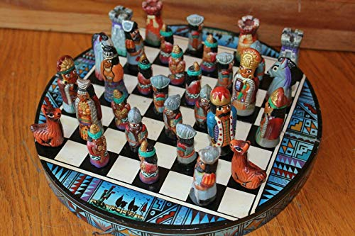 (Southwestern Chess Set Vintage hand painted clay pieces wooden folding board)