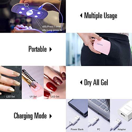 SEXY MIX Gel Nail Polish Kit with 6W UV LED Light, Home Gel Nail Polish Kit Manicure Tools 4 Pink Colors Gel Nail Polish 7ML Base and Top Coat, Portable Kit for Travel