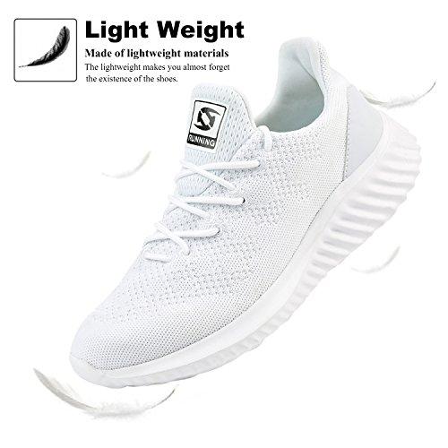 JOINFREE Herren Freizeitschuhe Breathable Athletic Tennis Walking Laufschuhe Weiß