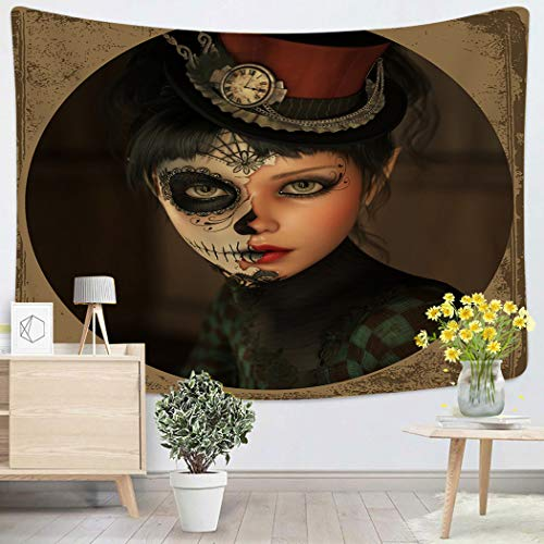 Lichtion Tapestry 3D Computer Graphics Girl with Sugar Skull Makeup and Topper Her Head Wall Hanging Polyester Living Room Beach Towel Picnic Mat Bedding Decoration 50 X 60 Inches]()