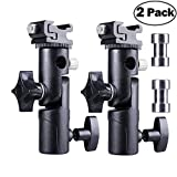 Camera Flash Speedlite Mount Flash Stand Shoe Mount Speedlite Stand Flash Bracket Camera Umbrella Holder for Camera Canon Nikon Pentax Olympus Nissin Metz and Other Speedlite Flashes E Type-2 Pack