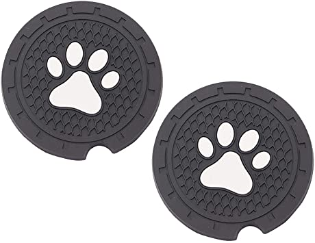 EAST-F Set of 4 Car Coasters with Paw Pattern 2.75 Diameter Silicone Insert Cup Holder Anti Slip Cup Mat Accessories for Universal Vehicle