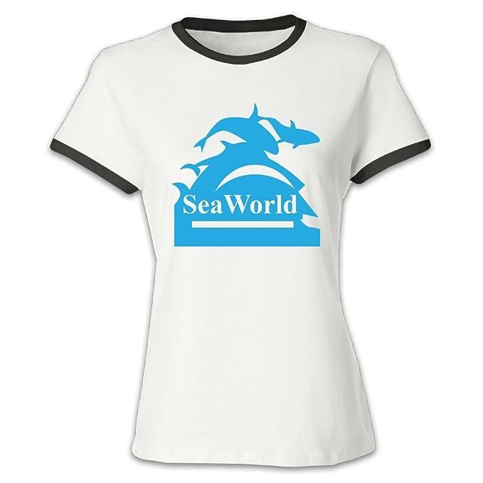 Amazon.com  QTHOO Women s O Neck Seaworld Logo Baseball T-Shirt  Clothing a37bbfd63