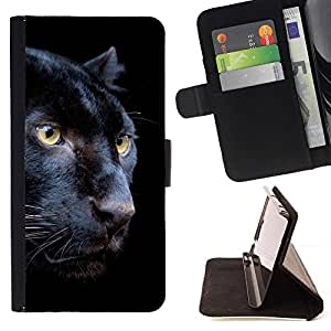 Momo Phone Case / Flip Funda de Cuero Case Cover - Puma Negro Piel intenso Naturaleza Animal - Huawei Ascend P8 (Not for P8 Lite)