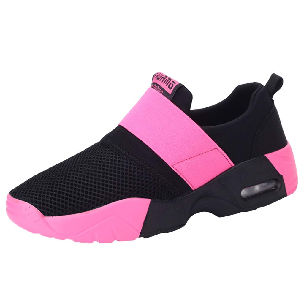 HYSGM Women's Casual Mesh PU Leather Sneakers Patchwork Cushion Running Travel Breathable Sports Shoes (8, Pink) by HYSGM