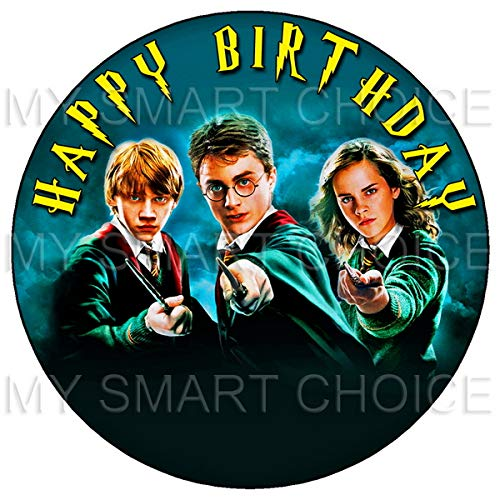 - 7.5 Inch Edible Cake Toppers - Harry Potter, Hermione & Ron Themed Birthday Party Collection of Edible Cake Decorations