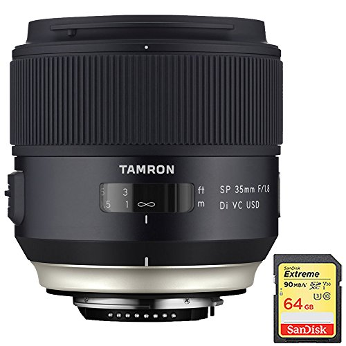 Tamron SP 35mm f/1.8 Di VC USD Lens for Canon EOS Mount (AFF012C-700) with Lexar 64GB Professional 633x SDXC Class 10 UHS-I/U3 Memory Card Up to 95 Mb/s