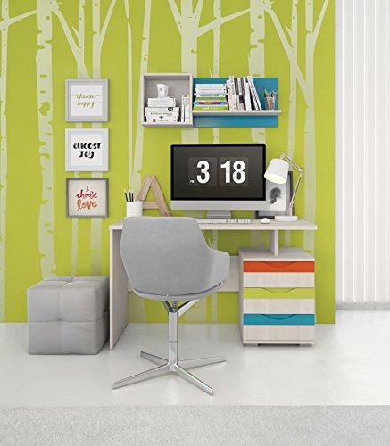 Kinderzimmer Komplett - Set D Peter, 2-teilig, Farbe: Kiefer Weiß / Orange / Gelb / Türkis