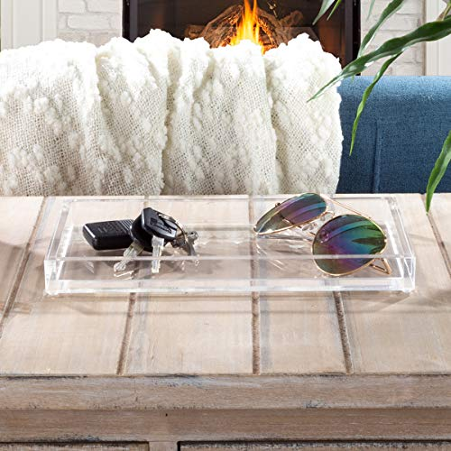 Lavish Home Acrylic Catchall Tray-Decorative Clear Rectangular Modern Minimalist Valet Organizer for Bedside, Bathroom or Office Storage