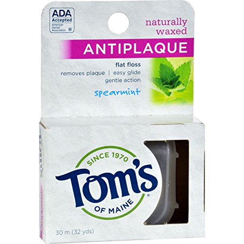 Antiplaque Spearmint Flat (Toms of Maine Antiplaque Flat Floss Waxed Spearmint - 32 Yards - Case of 6)