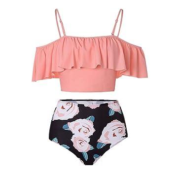 38841082f514 Amazon.com: Jiayit Ms. Large Size Ruffle Print Bikini Split Separate High  Rise Ruffle Sling Top Thicken Bra Beach Bikini Set Two Piece Swimsuit  Beachwear (L ...
