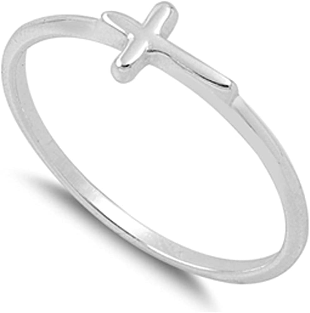 Jinique VE-01267 Sterling Silver Side Way Cross Ring Cross Baby Ring