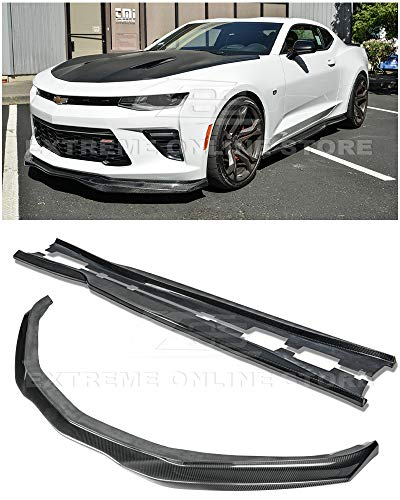- Extreme Online Store for 2016-2018 Chevrolet Camaro SS Models | EOS T6 Style Front Bumper Lip Splitter with Side Skirts Rocker Panel Pair (Carbon Fiber)