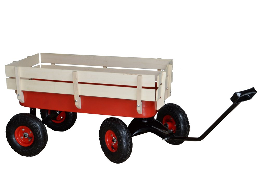 TMS Outdoor Wagon All Terrain Pulling w/Wood Railing Air Tires Children Kid Garden by TMS (Image #4)