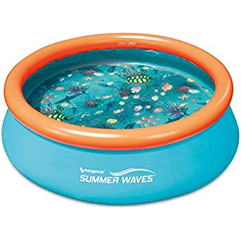 Summer Waves Small Kiddie 8' Inflatable Kids Swimming Pool with 3D Floor Pattern