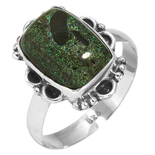 Solid 925 Sterling Silver Stylish Jewelry Natural Honduran Black Matrix Opal Gemstone Ring Size 10