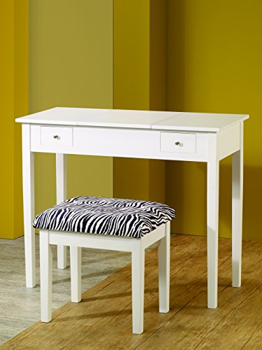 (2-piece Vanity Set White and Zebra)