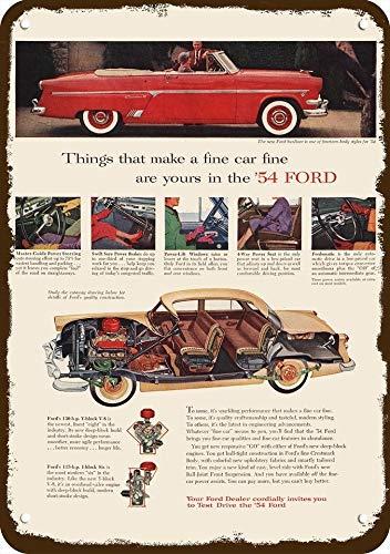 Yilooom 1954 Ford Sunliner Convertible Car Vintage Look Replica Metal Sign 7