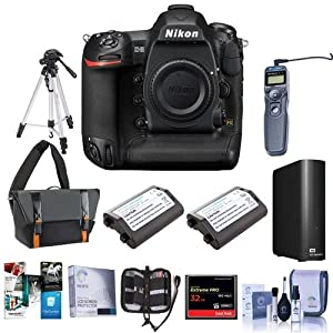 Nikon D5 FX-Format Digital SLR Camera Body (CF Version) - Bundle With Camera Bag, 2x Spare Batteries, 32GB CF Card, 4TB External Hard Drive, Tripod, Remote Shutter TRigger, Software Package, And More