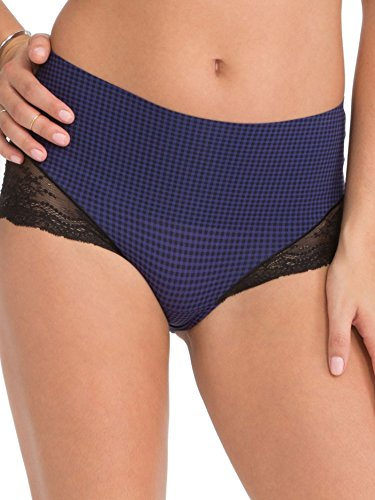 Blue Lace Briefs (SPANX Undie-Tectable Lace Hi-Hipster Panty, Small Gingham Blue Night,)