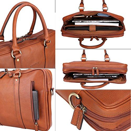 Banuce Vintage Leather Tote Briefcase for Men Business Messenger 14 inch Laptop Bag by Banuce (Image #5)
