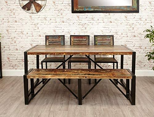 Amazon Com Vintage Industrial Dining Table Large Rustic Metal Furniture Retro Style Wooden Room Solid Reclaimed Wood Kitchen Breakfast Unit Antique Farmhouse Steel Legs Indian Style Urban Chic Cafe Bar Pub