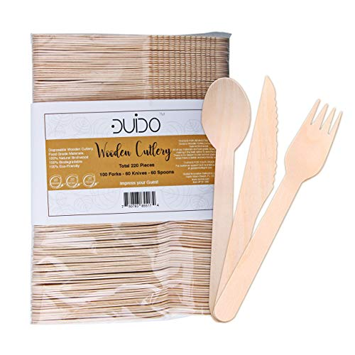 Biodegradable Disposable Wooden Cutlery Utensils - (Pack of 220) 100 Forks 60 Knives 60 Spoons, 5.5-inch Eco-Friendly Compostable Silverware Kit Party Supplies Set Events Better Than Bamboo Palm Leaf