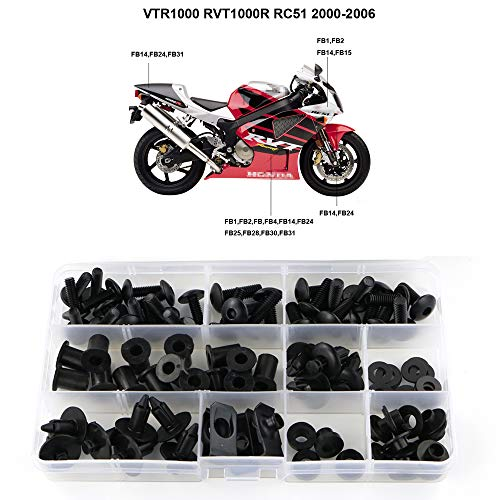 - Xitomer Full Sets Fairing Bolts Kits, for Honda VTR1000 RVT1000 RC51 2000-2006, Mounting Kits Washers/Nuts/Fastenings/Clips/Grommets (Matte Black)