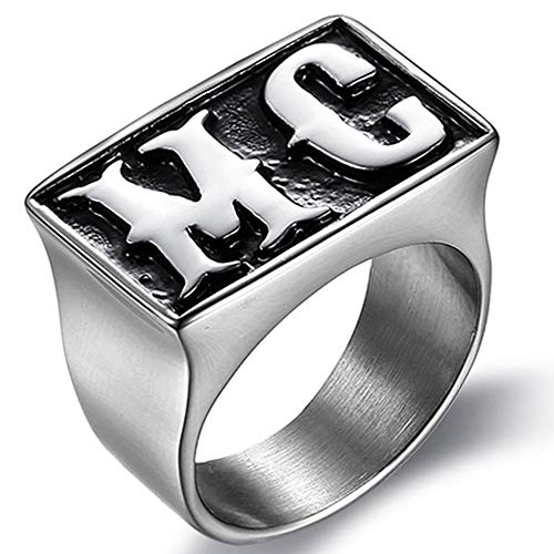 Kingray Jewelry Fashion Stainless Steel Motorcycle Rider Biker MC Ring (Silver, 11) -