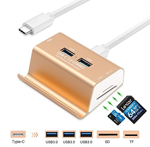 GZCRDZ USB 3.0 Card Reader + 3-Port USB 3.0 Hub + Phone Holder, Super Speed Multi-in-1 Aluminum USB-C 3.0 Combo, SD/TF/MicroSD Card Reader HUB MacBook/Laptop/Tablets/More Type-C Devices (Gold) by CZCRDZ