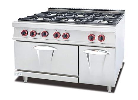Cucina A Gas Professionale 6 Fuochi Con Forno Gas 120x90x94h Risto Bar Amazon It Commercio Industria E Scienza