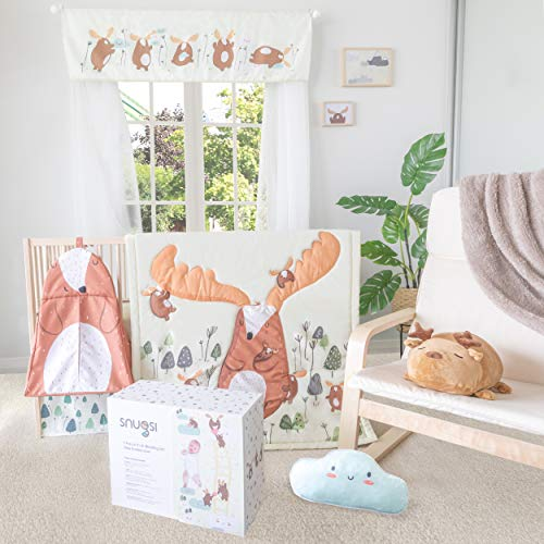 Snugsi 7 Piece Baby Nursery Crib Bedding Set with Gift Box - Hand Drawn Deer Endless Love for Girl & Boy (Neutral) Includes 100% Cotton Quilt and 100% Cotton Fitted Sheets (2 Piece)
