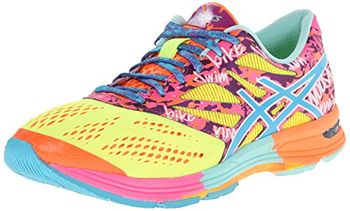 Asics Donna Gel Noosa Tri 10 Scarpe Da Corsa Flash Giallo / Turchese / Rosa Flash