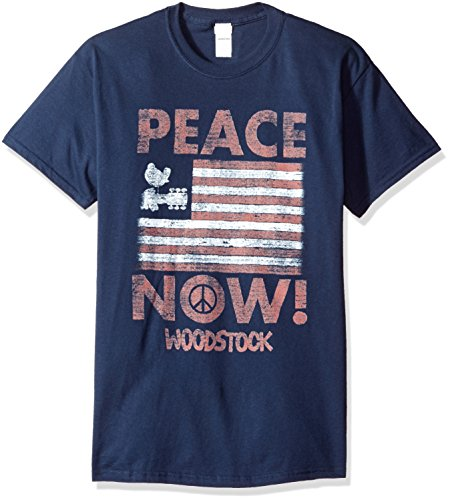 Woodstock Band - Trevco Men's Woodstock Short Sleeve T-Shirt, Peace Navy, X-Large