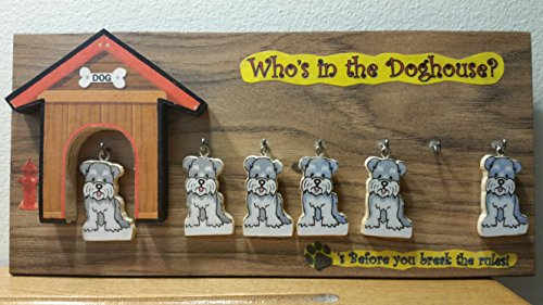 Handcrafted Who's in The Doghouse Family of 6 Mini Plaque in The USA Ships Within 24 Hours
