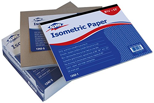 Alvin 1242-5 Isometric Paper 100-Sheet Pack 8.5 inches x 11 inches (Blue Grid Paper)