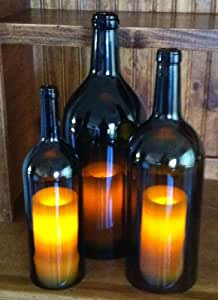 Wine Bottle Hurricane Candles - Set of 3
