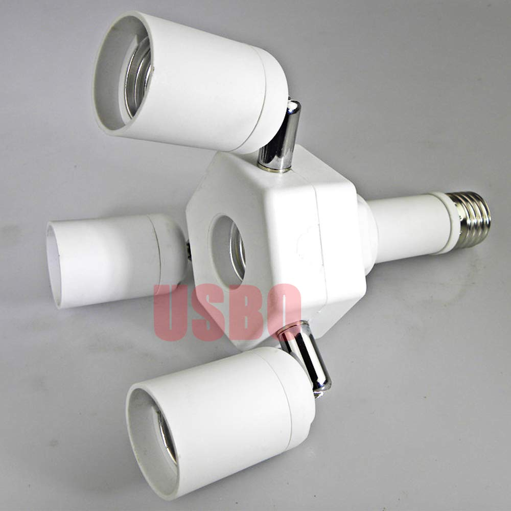 Kamas 4A 110-240V White E27 to 3 and 1 E27 E40 to 3 and Certified Universal Head Conversion Lamp Holder Lamp Socket Quality Assurance - (Color: WHITE, Base Type: E40 to 3 and 1 E27)