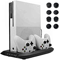 Lictin Xbox One S Vertical Stand Cooling Fan with Dual Charging Station for 2 Xbox One S Controllers + 8 Silicone Thumbs for Xbox One S Controller(Black)