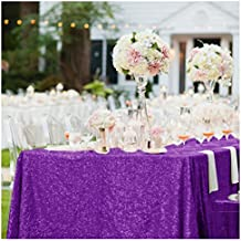 ShinyBeauty 60inx102in Sequin Tablecloth For Wedding/Party-- Royal Purple #49