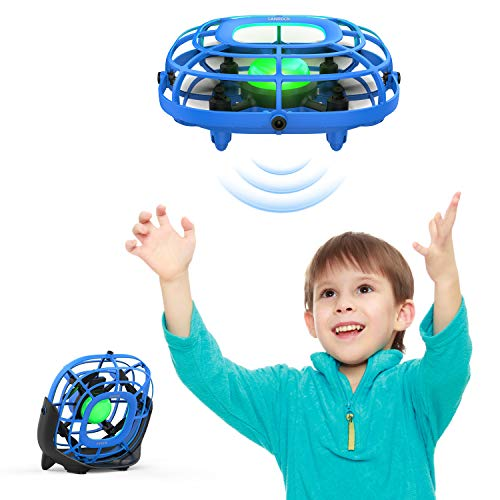 SANROCK Drone for Kids U58 Hand Operated UFO Mini Drone, RC Quadcopter Helicopter with Fan Mode and Flight Mode, Mini Infrared Airplane Lifting Gifts Toy for Children (Blue)